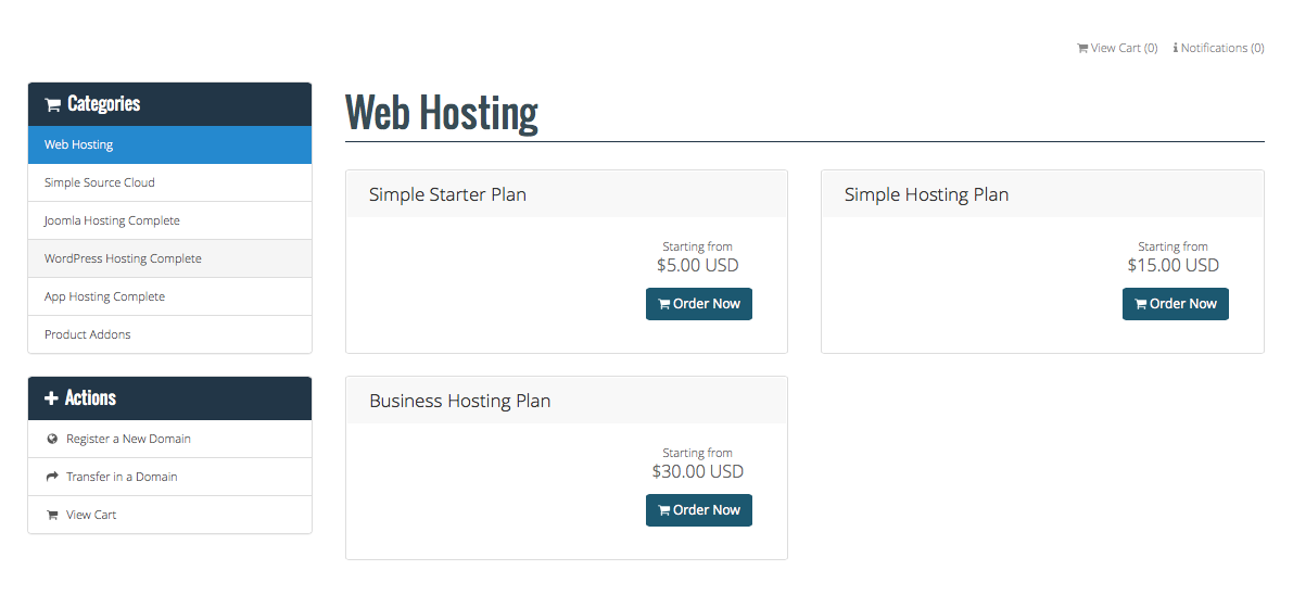 website hosting account orders